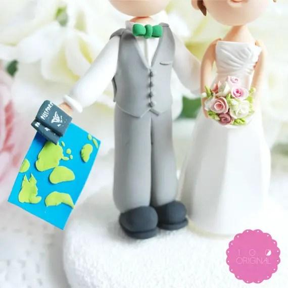 travel themed wedding cake topper