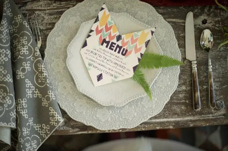 tribal wedding menu by &ink designs | etsy boho weddings | http://emmalinebride.com/bohemian/etsy-boho-weddings/