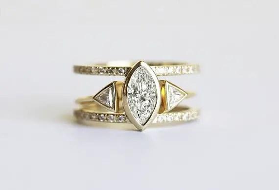trillion diamond engagement ring set | Best Engagement Rings Etsy | via http://emmalinebride.com/jewelry/40-best-handmade-rings-ever/ 