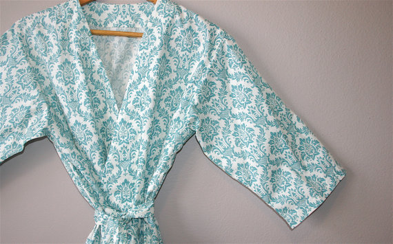 Bridesmaid Robes (by Modern Kimono) - Turquoise class=