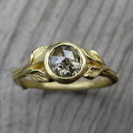 twig and leaf engagement ring