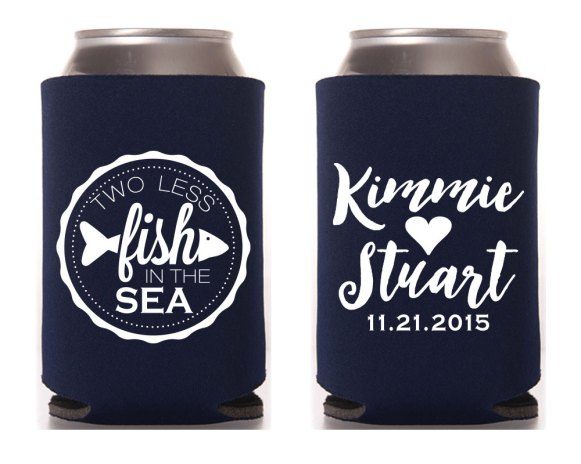 two less fish koozies