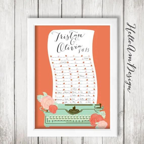 typewriter wedding guest book poster print