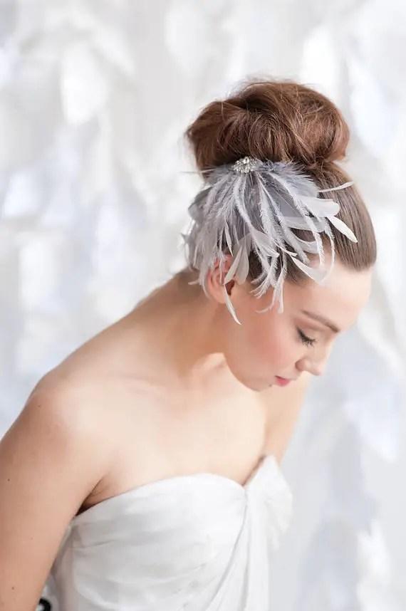 How to Rock a No Veil Wedding Look (via EmmalineBride.com) - feather hair clip by Tessa Kim, photo by Candice Benjamin