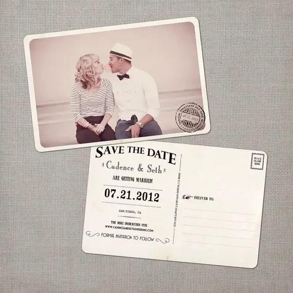 vintage save the date postcards - bubble gum