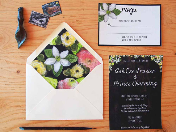 watercolor wedding invitations floral design on black