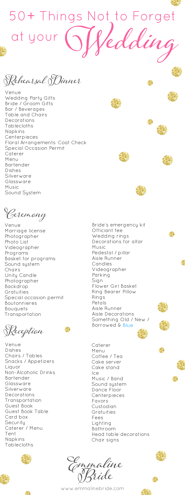 Wedding Day Checklist Printable: 50+ Things Not to Forget