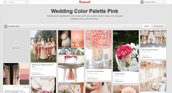 wedding color palette - pink