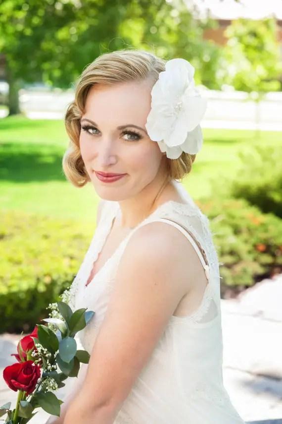 wedding hair flower in white