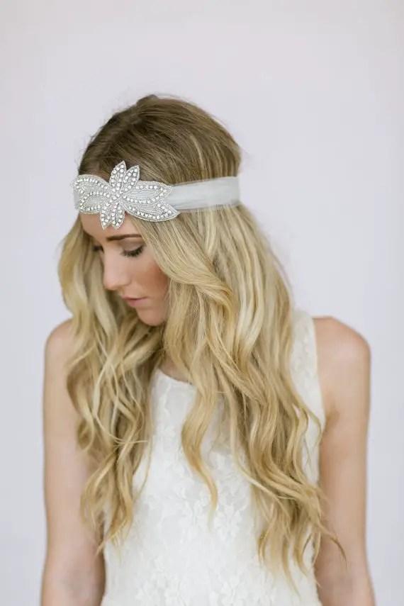 How to Rock a No Veil Wedding Look (via EmmalineBride.com) - wedding headband by Three Bird Nest