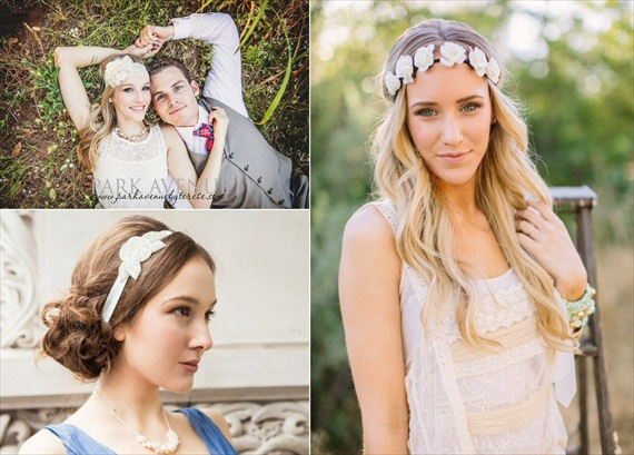 Wedding Halo Headbands & Crowns (headband: top left - heavenly avonlee couture, bottom left - davie and chiyo, right - three bird nest)