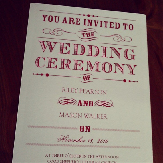 wedding invitation red white