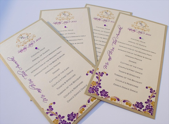 wedding programs with purple and ivory by vividesign(s) title=