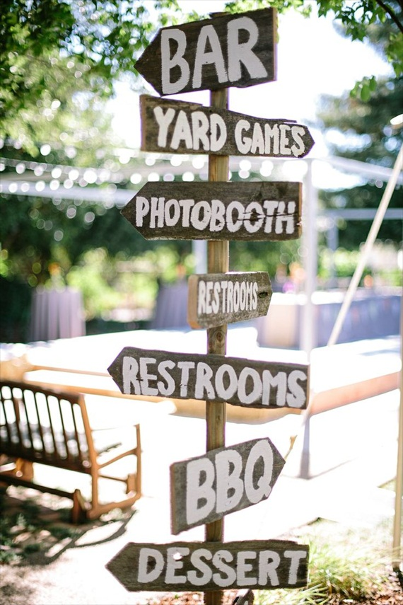 this way, that way via 7 Wood Wedding Signs You'll Want to Steal