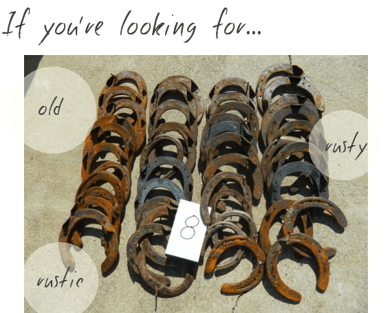 where to buy horseshoes for weddings - rustic old authentic horse shoes