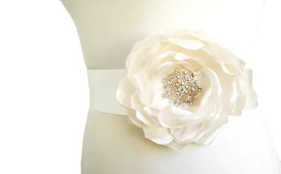 Flower Sash for Wedding Dress in White