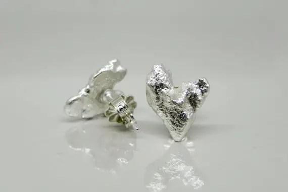 White Gold Heart Earrings