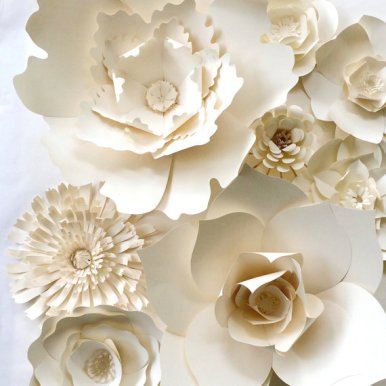 white paper flowers backdrop