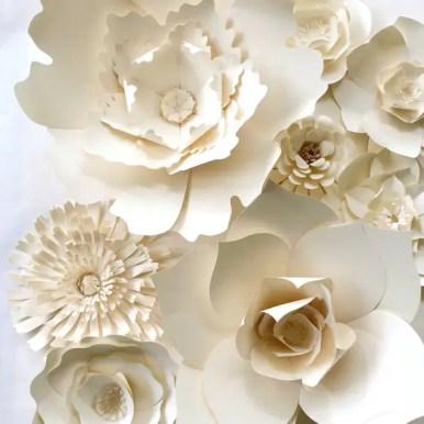 white paper flowers backdrop