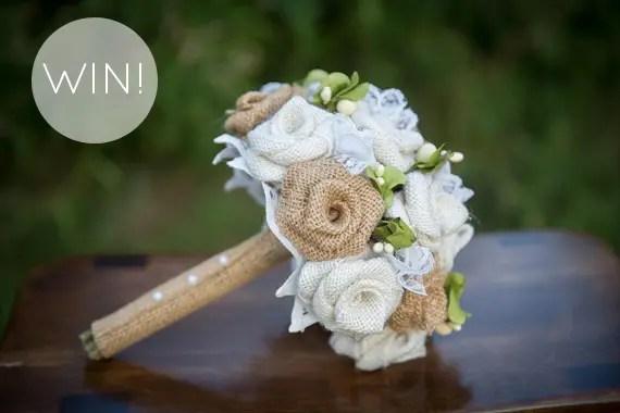 win burlap wedding bouquet