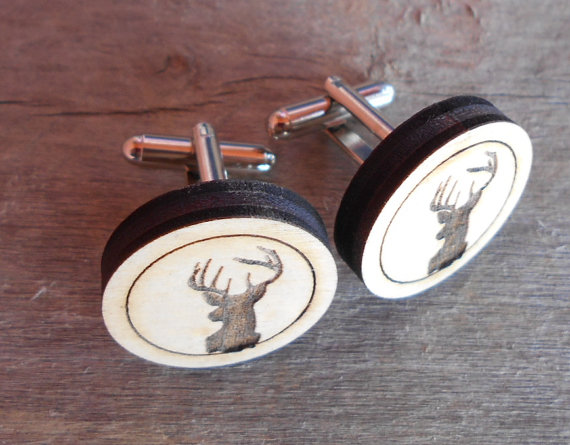 wood antler cuff links by customcoinrings