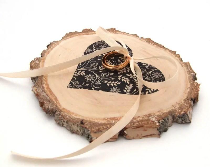 wood ring bearer pillow by kat deco | etsy boho weddings | http://emmalinebride.com/bohemian/etsy-boho-weddings/