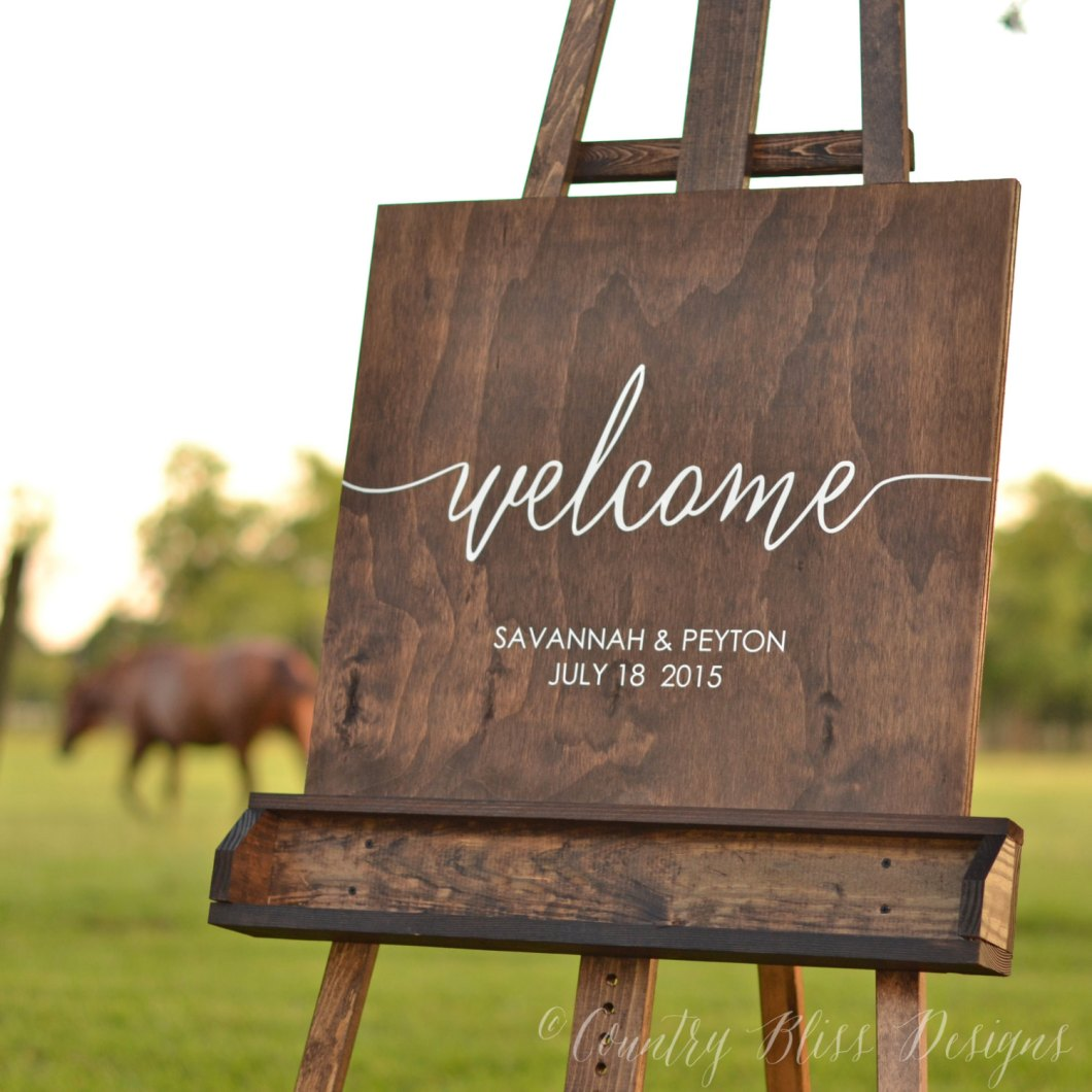 Wood Welcome To Our Wedding Sign By Country Bliss Designs