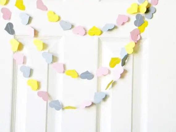 yellow and gray heart garland