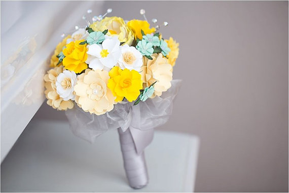yellow and mint paper wedding bouquet | wedding bouquets made of paper via emmalinebride.com