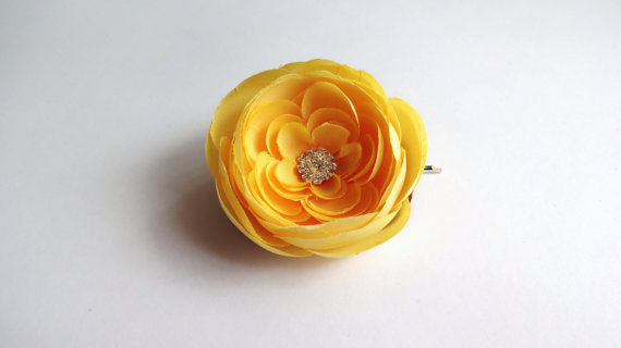yellow ranunculus hair pin - flower pins by hair blossoms boutique