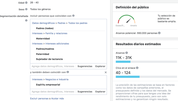 Facebook Ads público guardado