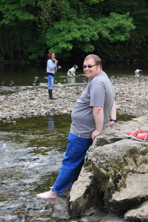 Cameron cooling his feet at Aysgarth Falls