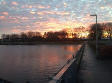 Red sky at Yeadon Tarn