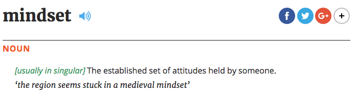 What's the definition of mindset?