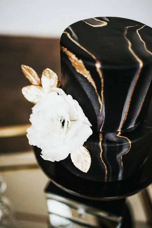 10 Brilliant Matter Black Wedding Cake Ideas for 2018 Trends     chic gold and black marble wedding cake