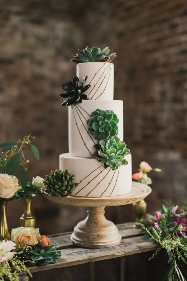 succulent wedding cake with lines   EmmaLovesWeddings succulent wedding cake with lines