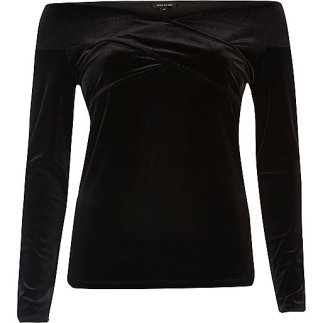 Black crossover velvet top, River Island