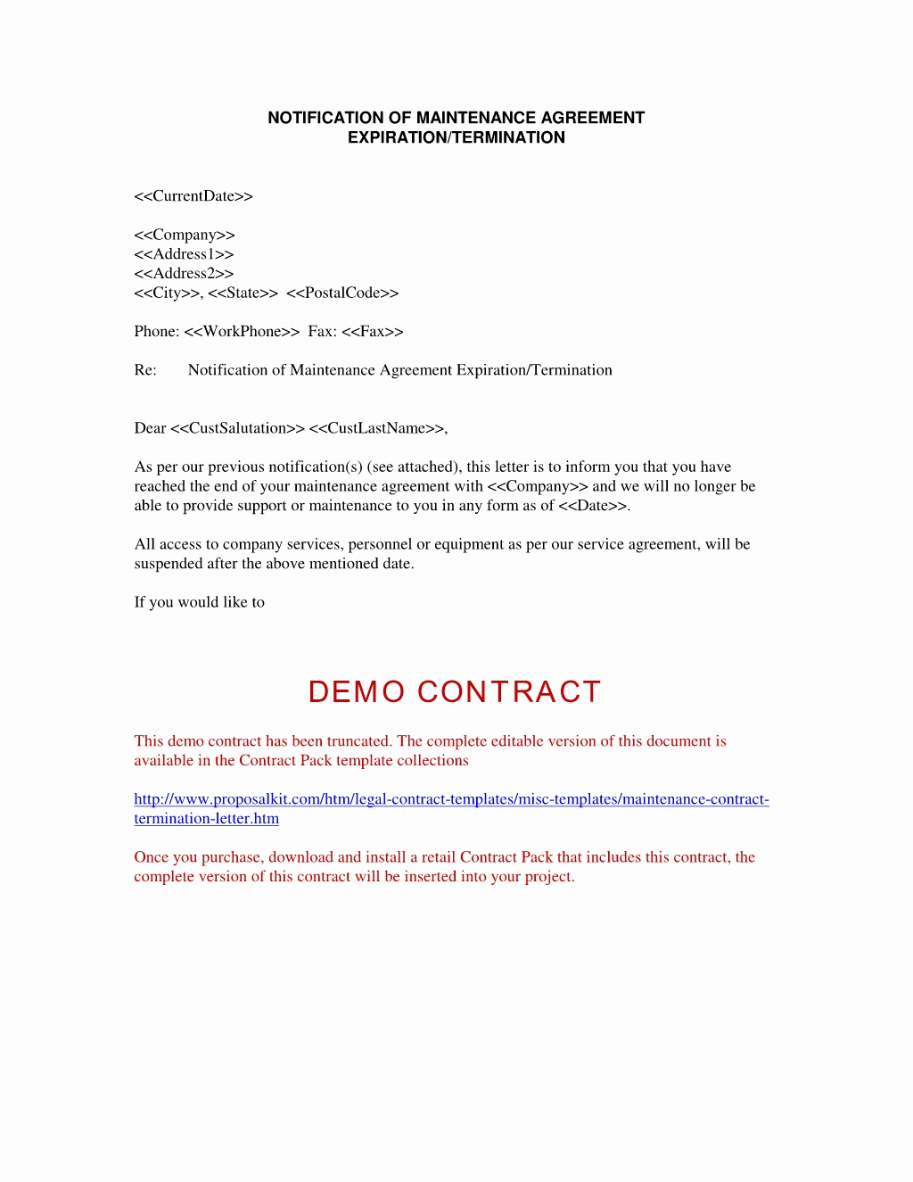 Sample Termination Letter For Independent Contractors