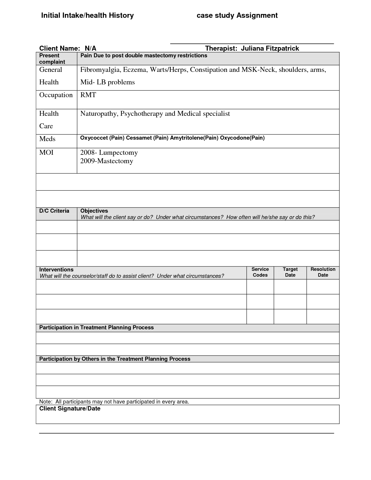 Psychotherapy Treatment Plan Template Emmamcintyrephotography