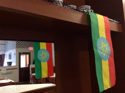 Ethiopian flags decorate the bar of the restuarant.