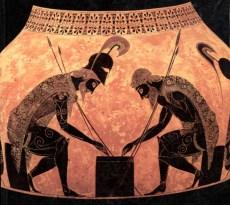 Aiace e Achille che giocano a dadi. Anfora conservata in Vaticano, nel Museo Etrusco