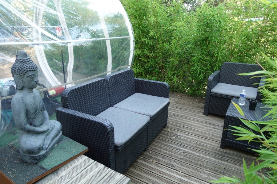 Bubble hotel couch