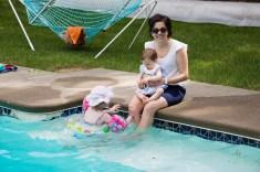 Having fun in the pool…