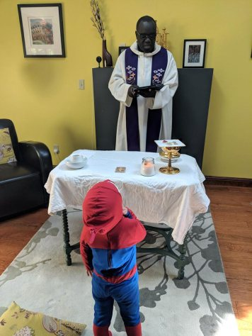 Even Spiderman (aka 3 year-old Arthur) attended mass and had a front-row seat :)