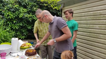 Two brothers: Olivier and Mikolaj, celebrated their birthdays with a cake prepared by Ed