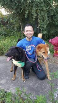Shi-hi Lin with two of the rescued dogs at the Hong Kong based dog shelter