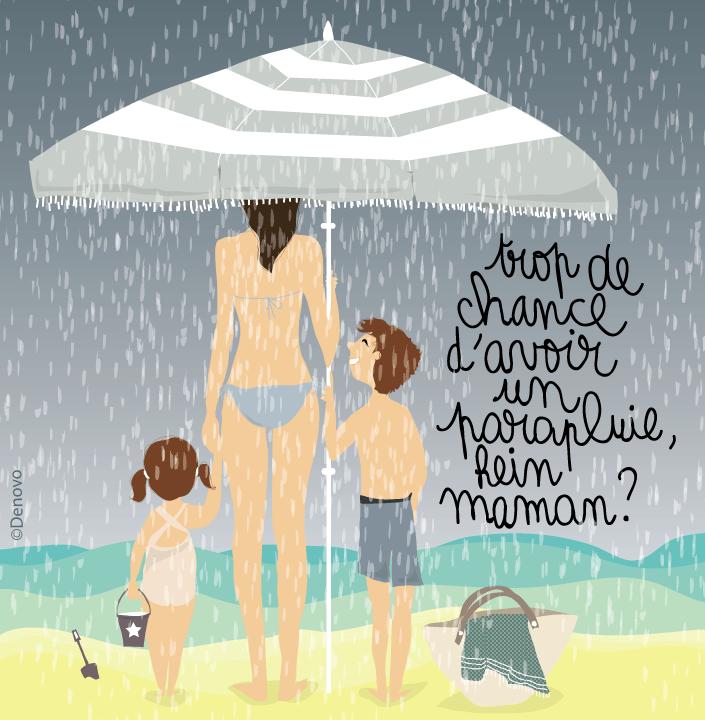 illustration plage mauvais temps