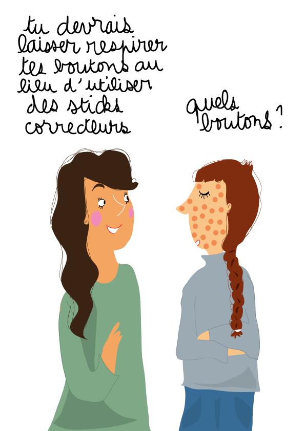 dessin humour ado maquillage bouton