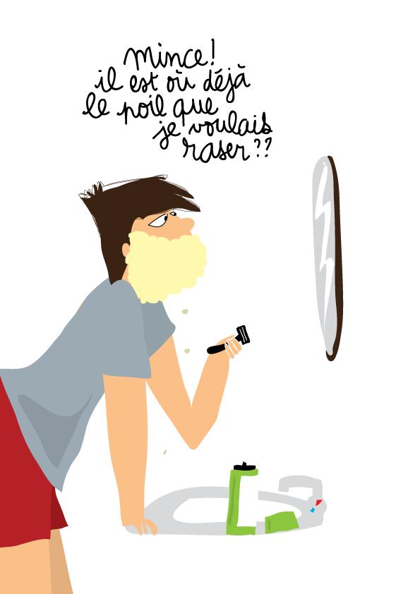 dessin humour ado rasage