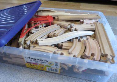 train pieces in a box